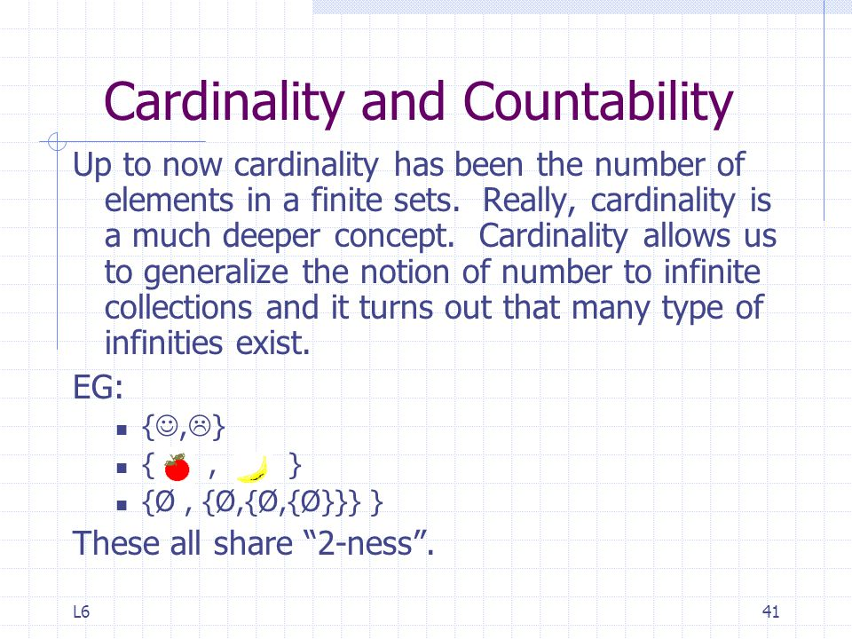 Cardinality and Countability