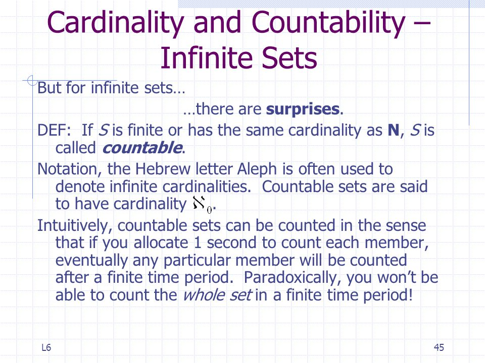 Cardinality and Countability – Infinite Sets
