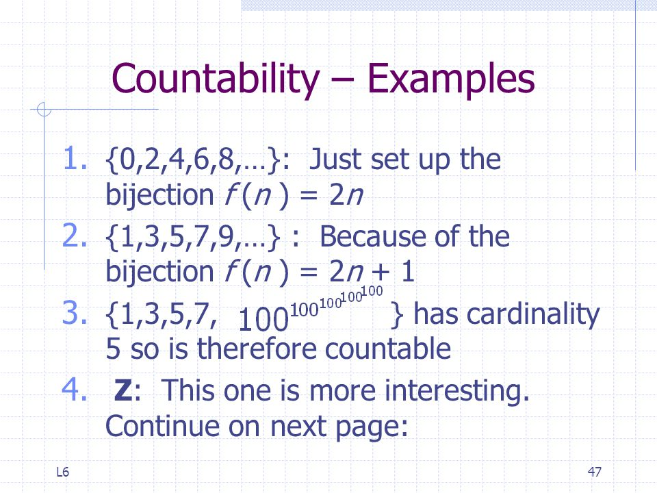 Countability – Examples