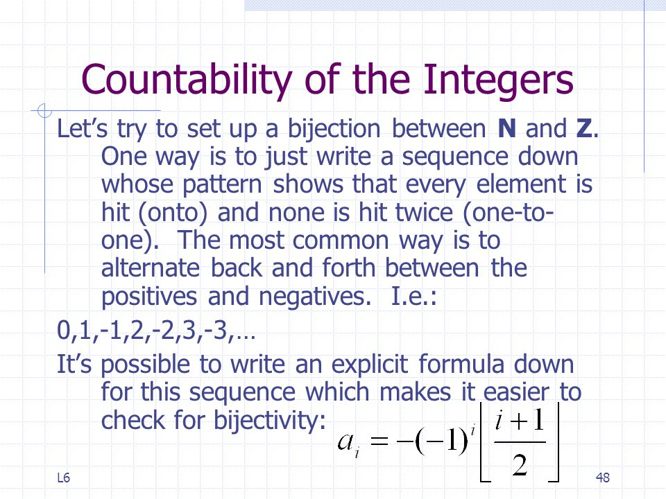Countability of the Integers