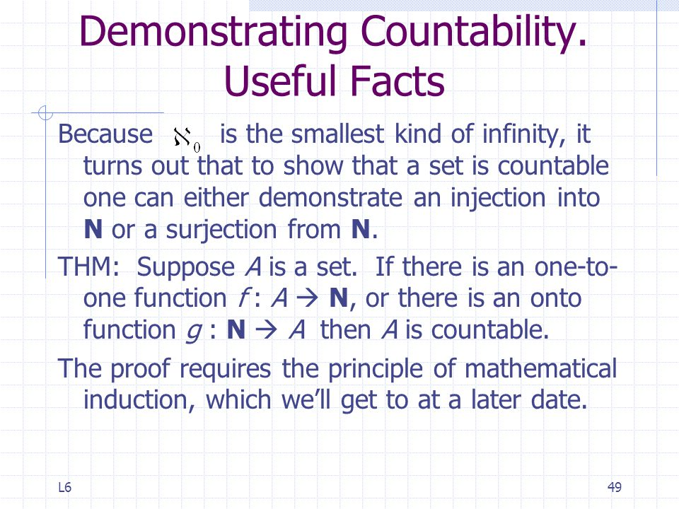 Demonstrating Countability. Useful Facts