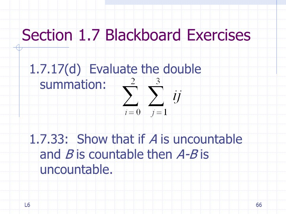 Section 1.7 Blackboard Exercises