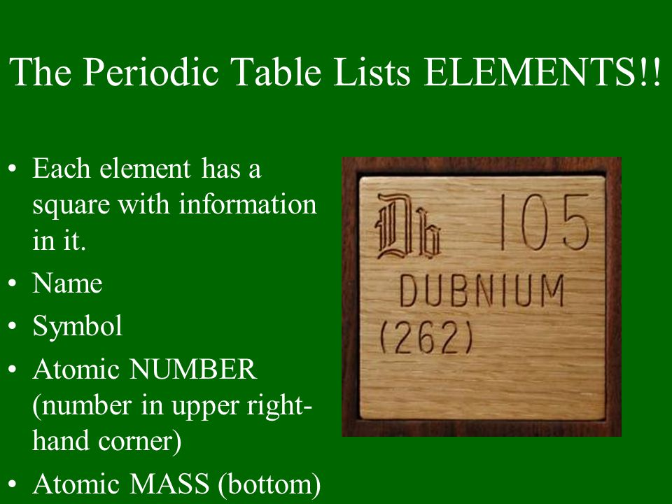 The Periodic Table Lists ELEMENTS!!
