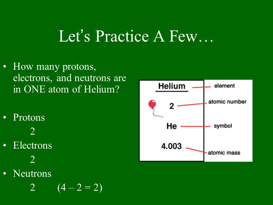 Let's Practice A Few… How many protons, electrons, and neutrons are in ONE atom of Helium Protons.