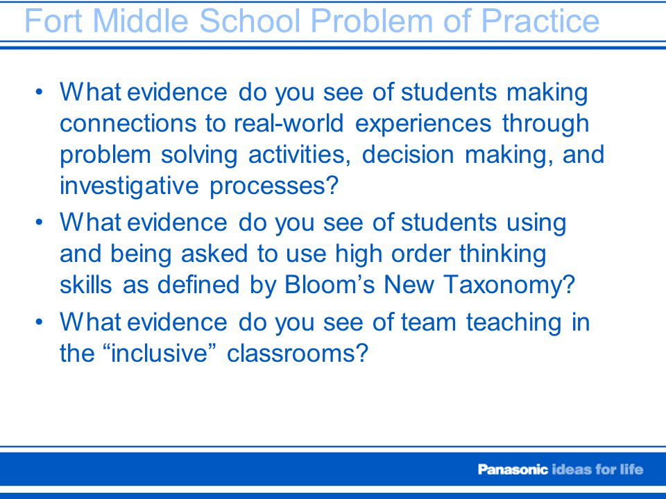 Fort Middle School Problem of Practice