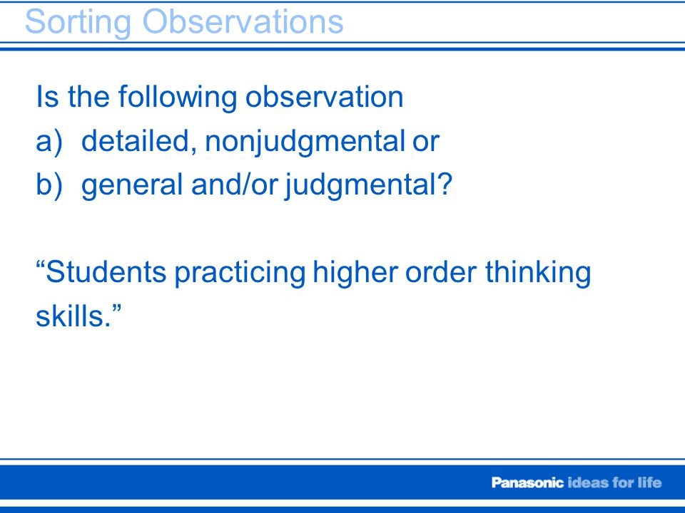 Sorting Observations Is the following observation