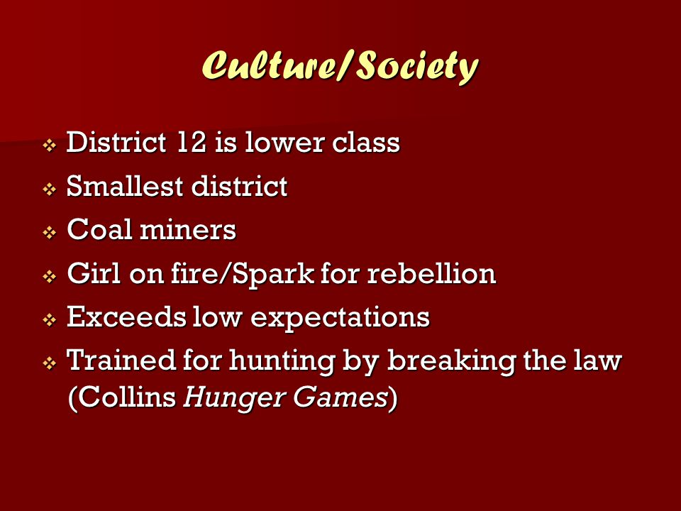 Culture/Society District 12 is lower class Smallest district