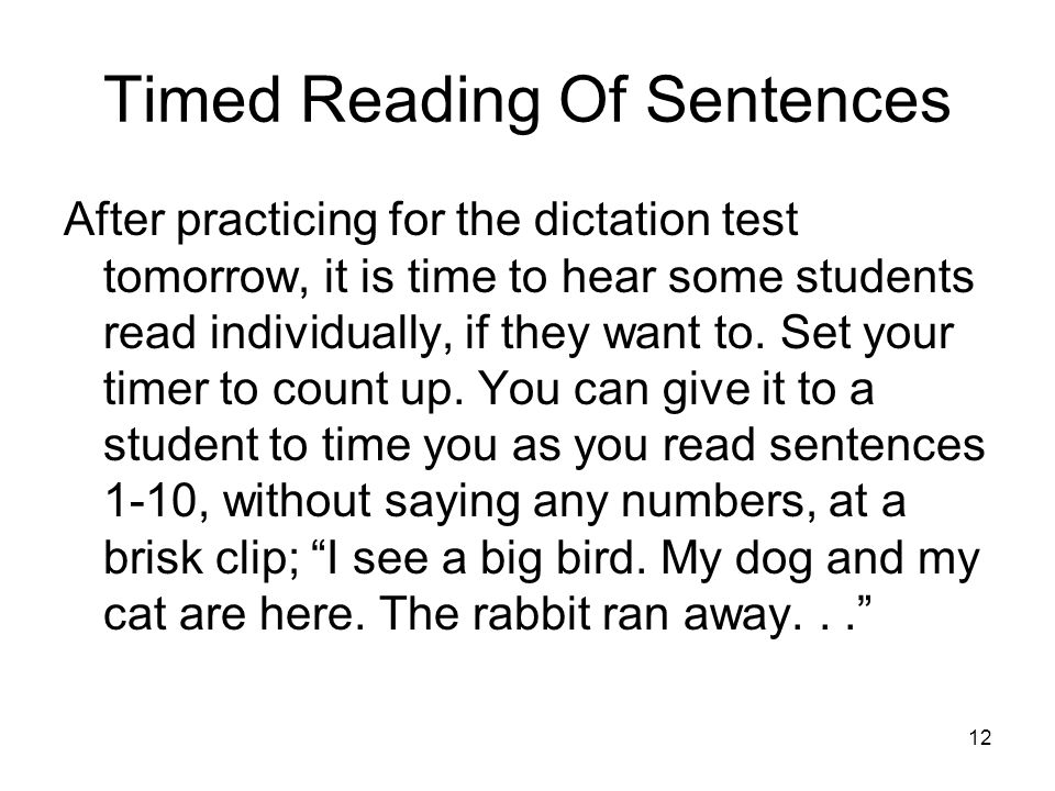 Timed Reading Of Sentences