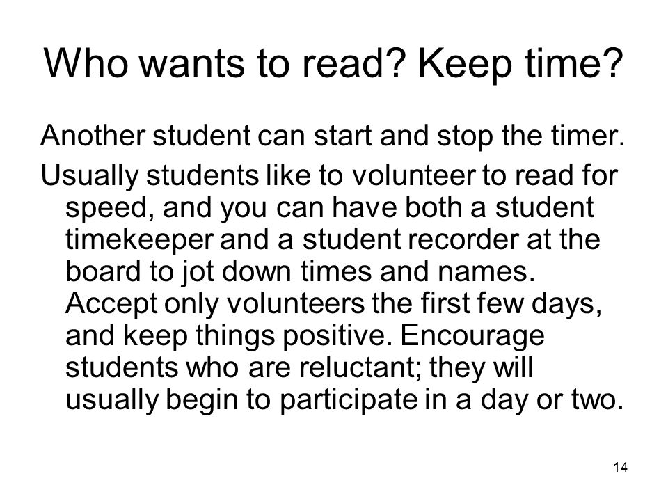 Who wants to read Keep time