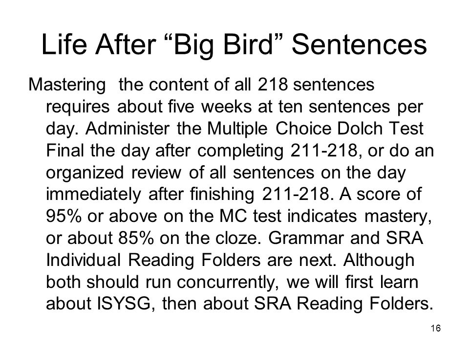 Life After Big Bird Sentences