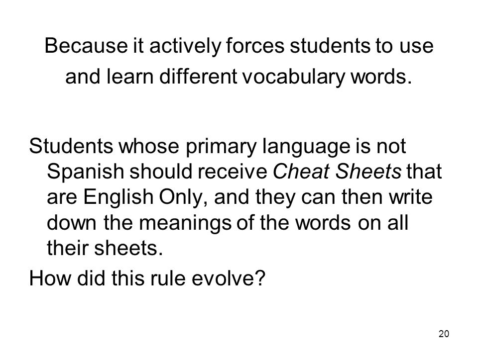 Because it actively forces students to use and learn different vocabulary words.