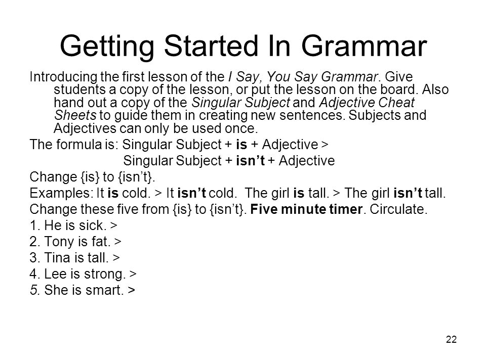 Getting Started In Grammar