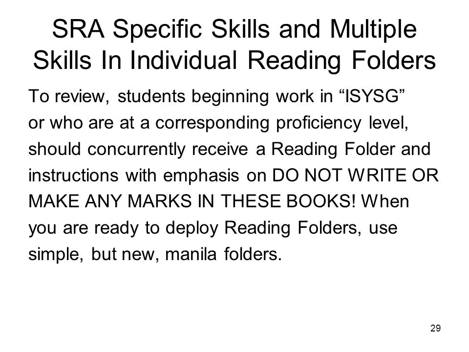 SRA Specific Skills and Multiple Skills In Individual Reading Folders