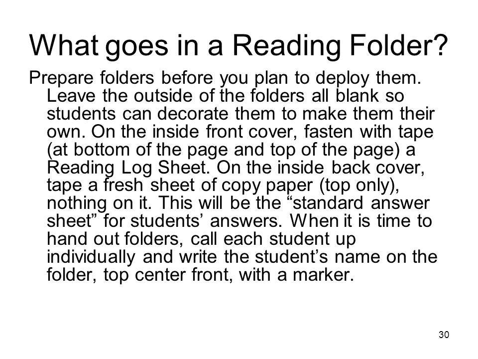 What goes in a Reading Folder