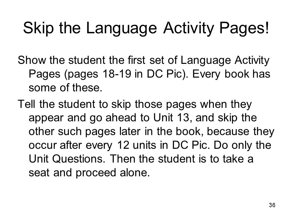 Skip the Language Activity Pages!