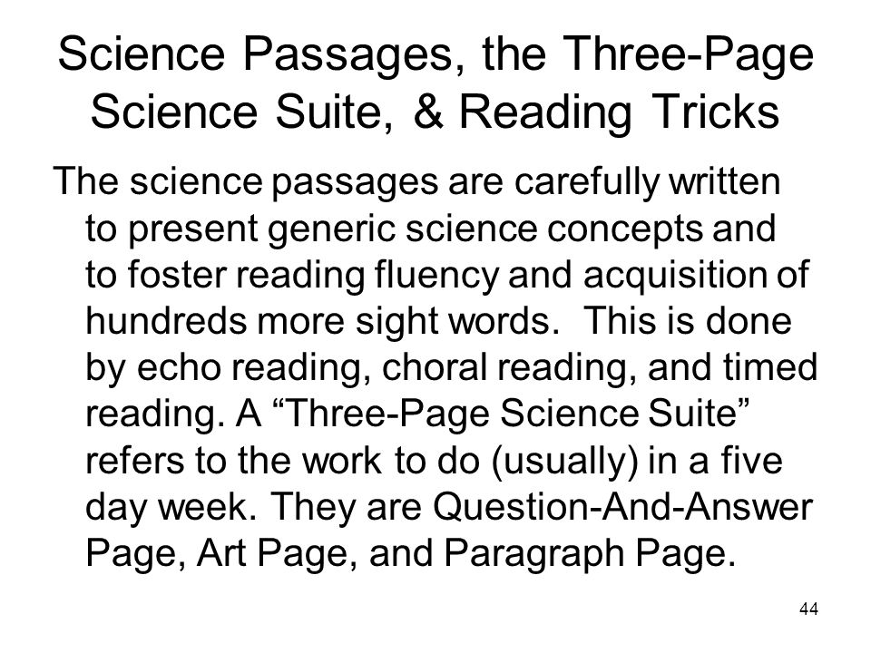 Science Passages, the Three-Page Science Suite, & Reading Tricks