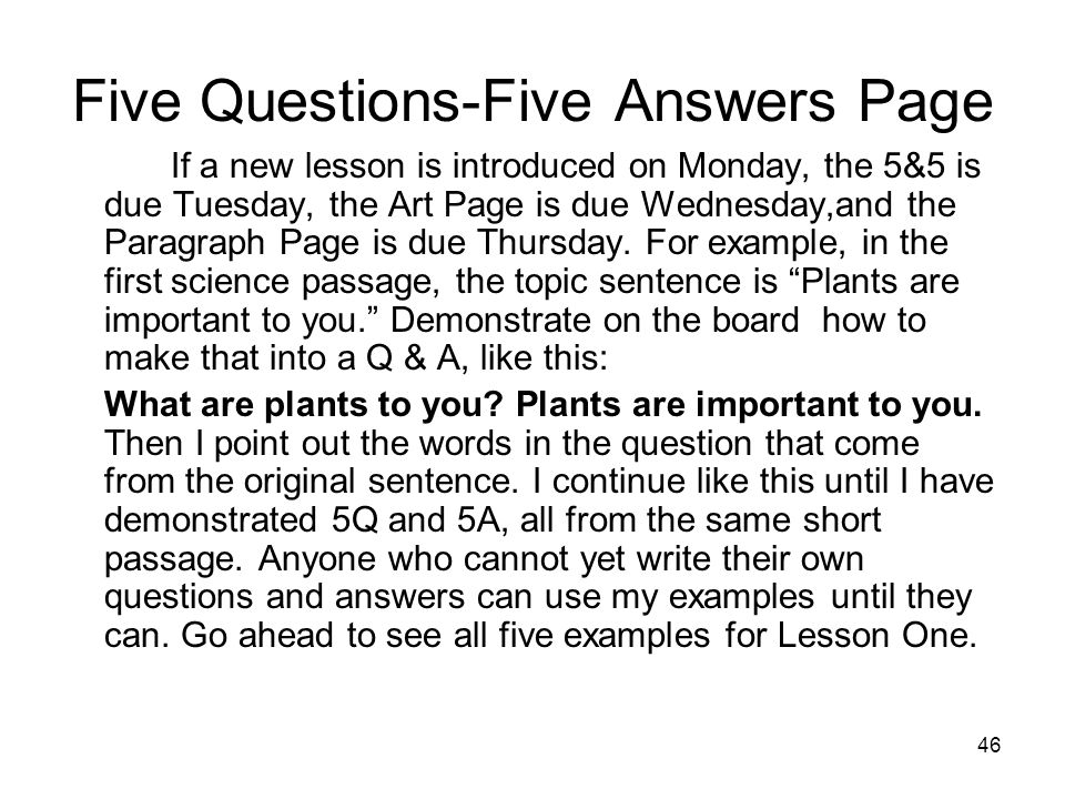 Five Questions-Five Answers Page