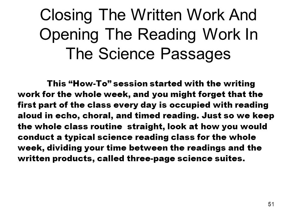 Closing The Written Work And Opening The Reading Work In The Science Passages
