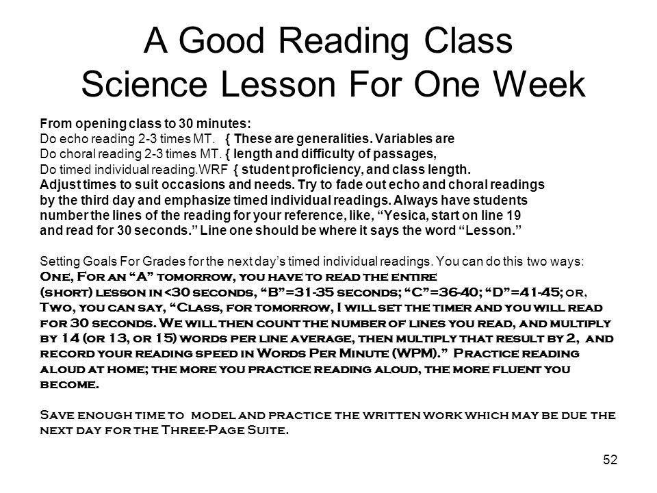 A Good Reading Class Science Lesson For One Week