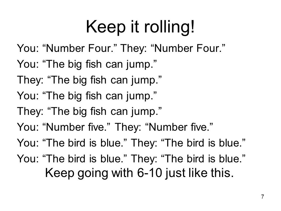 Keep it rolling! You: Number Four. They: Number Four.