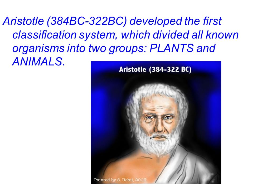 Aristotle (384BC-322BC) developed the first classification system, which divided all known organisms into two groups: PLANTS and ANIMALS.