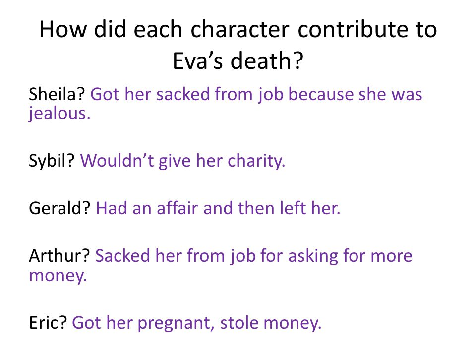 How did each character contribute to Eva's death
