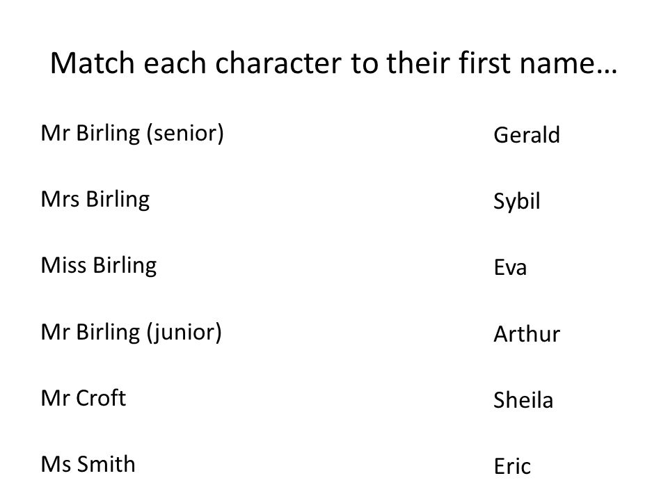 Match each character to their first name…