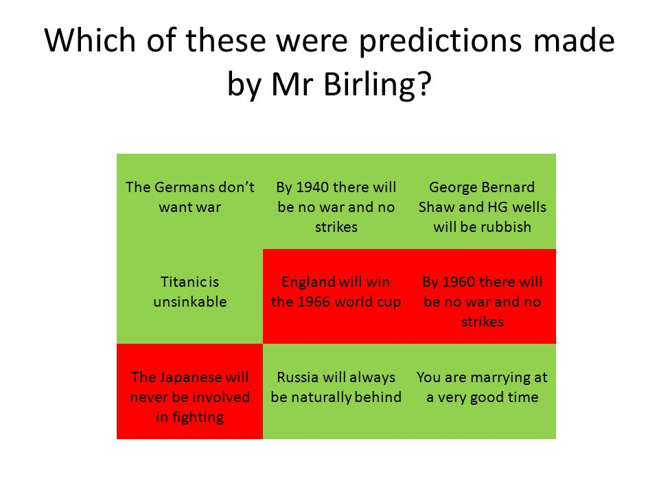 Which of these were predictions made by Mr Birling