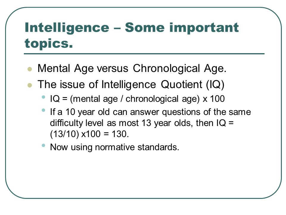 Intelligence – Some important topics.