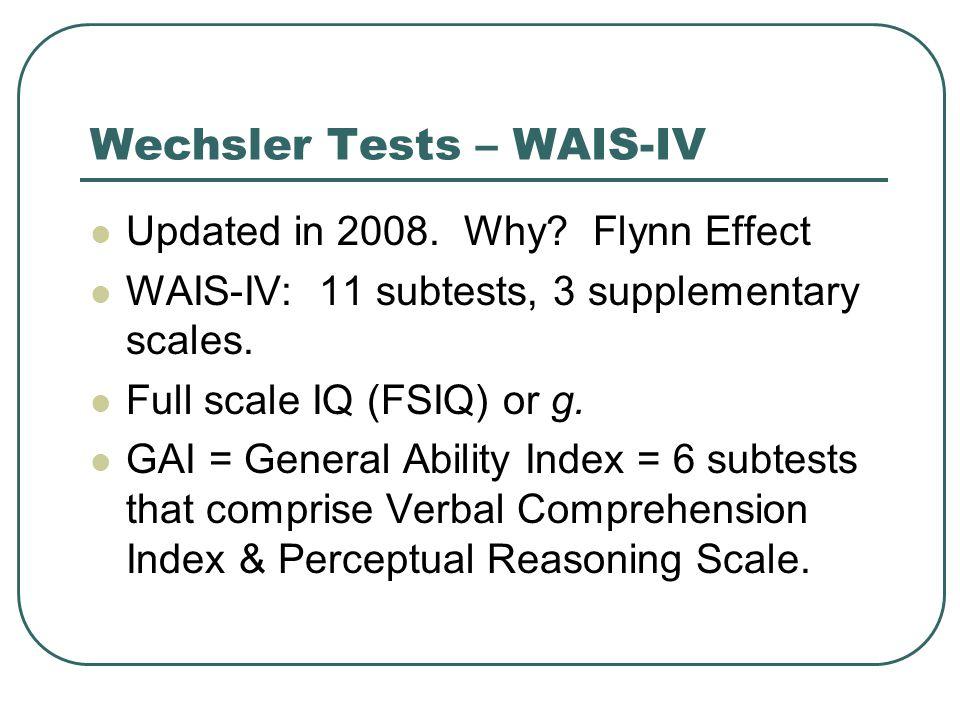 Wechsler Tests – WAIS-IV