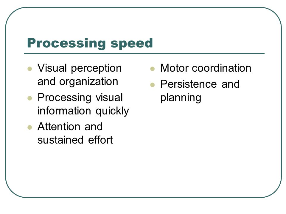 Processing speed Visual perception and organization