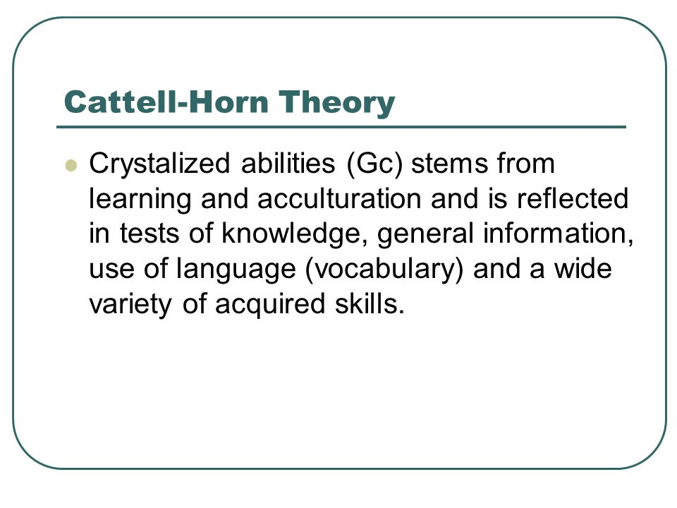 Cattell-Horn Theory