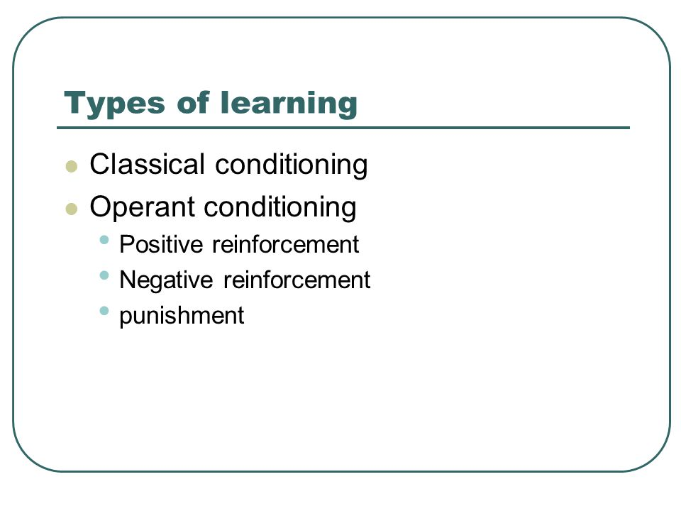 Types of learning Classical conditioning Operant conditioning