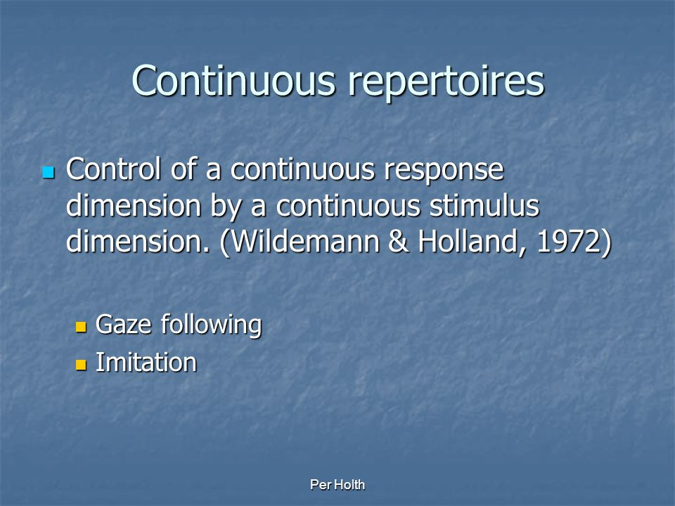 Continuous repertoires