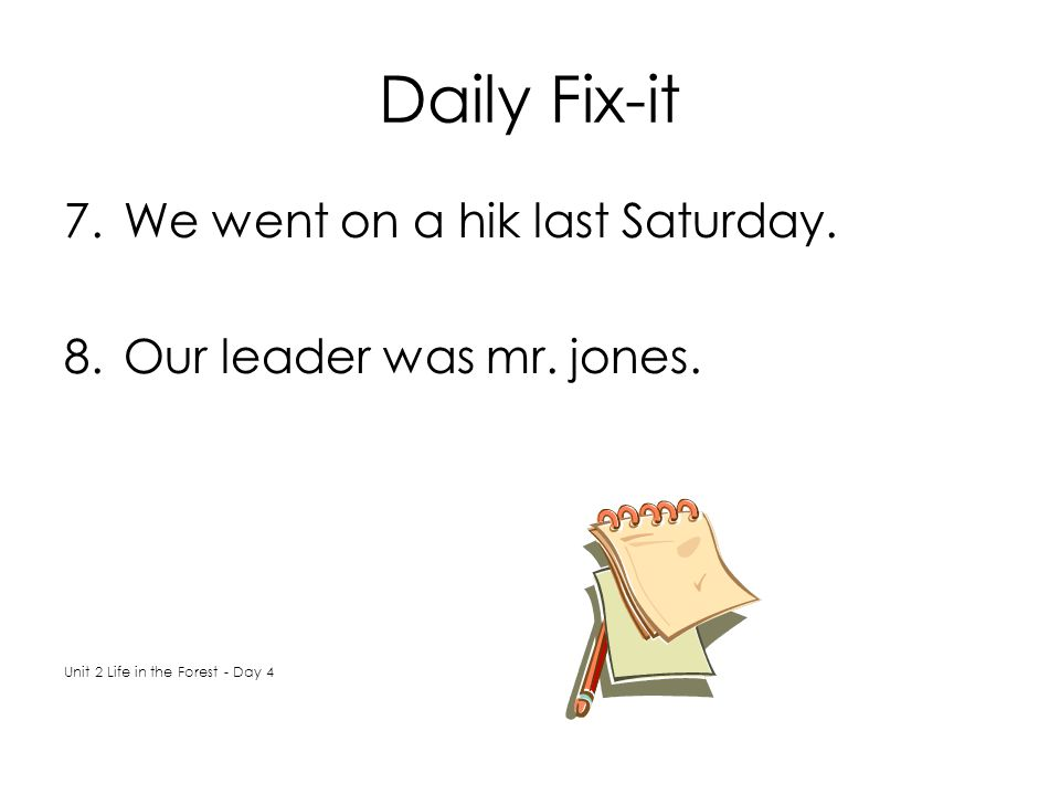 Daily Fix-it We went on a hik last Saturday. Our leader was mr. jones.