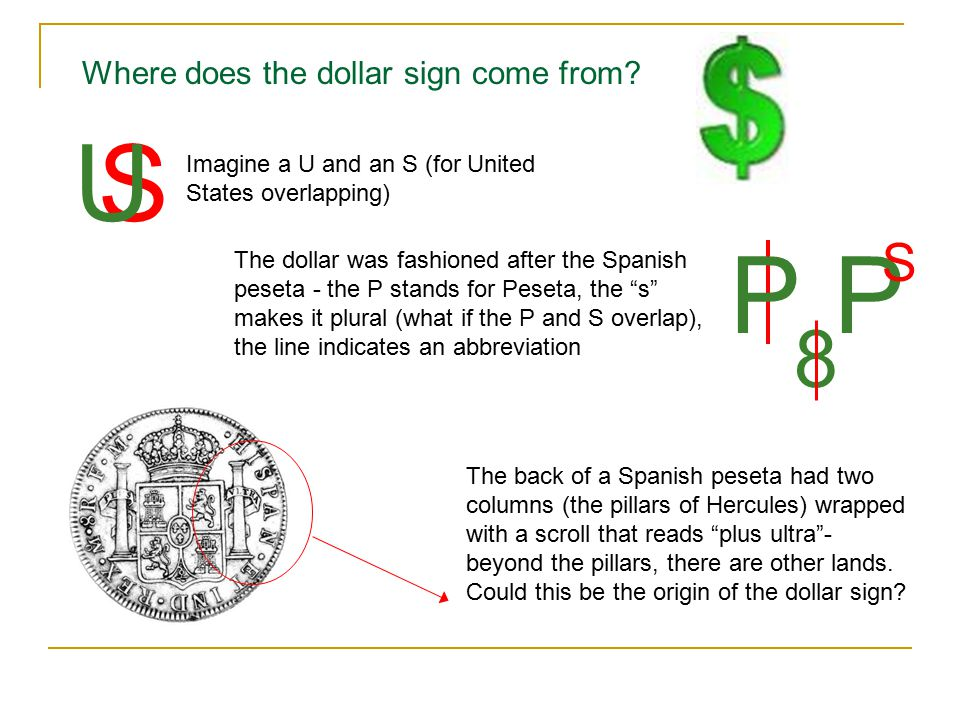 U S P P 8 S Where does the dollar sign come from