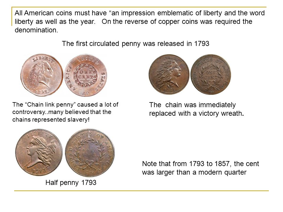 The first circulated penny was released in 1793
