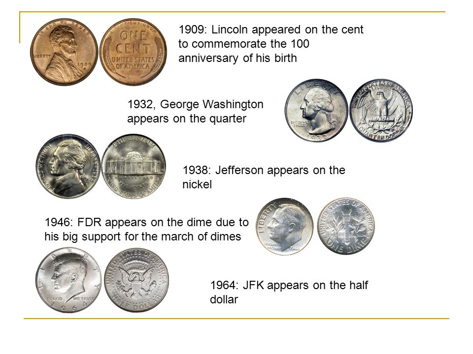 1909: Lincoln appeared on the cent to commemorate the 100 anniversary of his birth