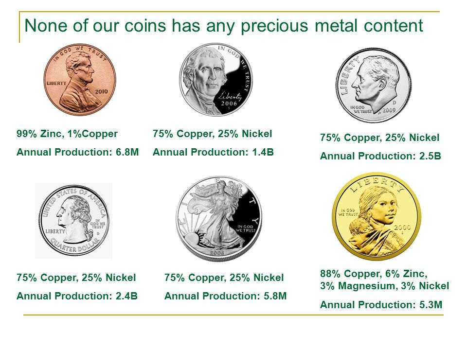 None of our coins has any precious metal content