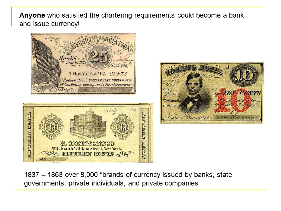 Anyone who satisfied the chartering requirements could become a bank and issue currency!