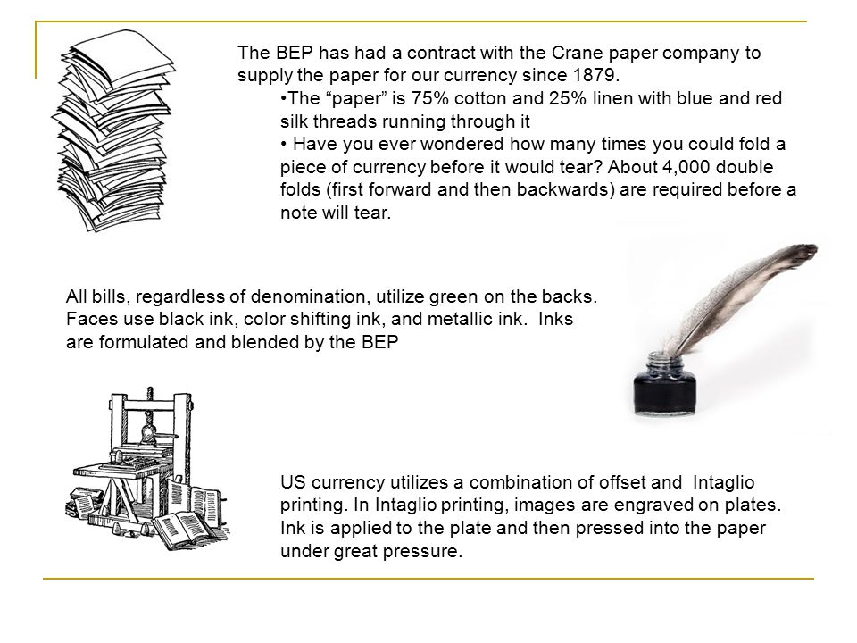 The BEP has had a contract with the Crane paper company to supply the paper for our currency since 1879.
