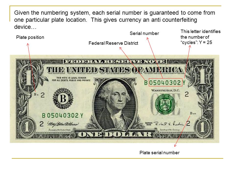 Given the numbering system, each serial number is guaranteed to come from one particular plate location. This gives currency an anti counterfeiting device…
