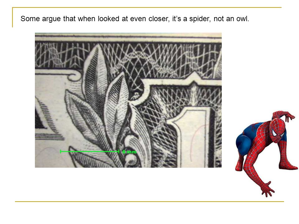 Some argue that when looked at even closer, it's a spider, not an owl.