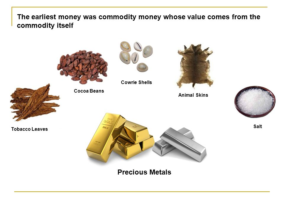 The earliest money was commodity money whose value comes from the commodity itself