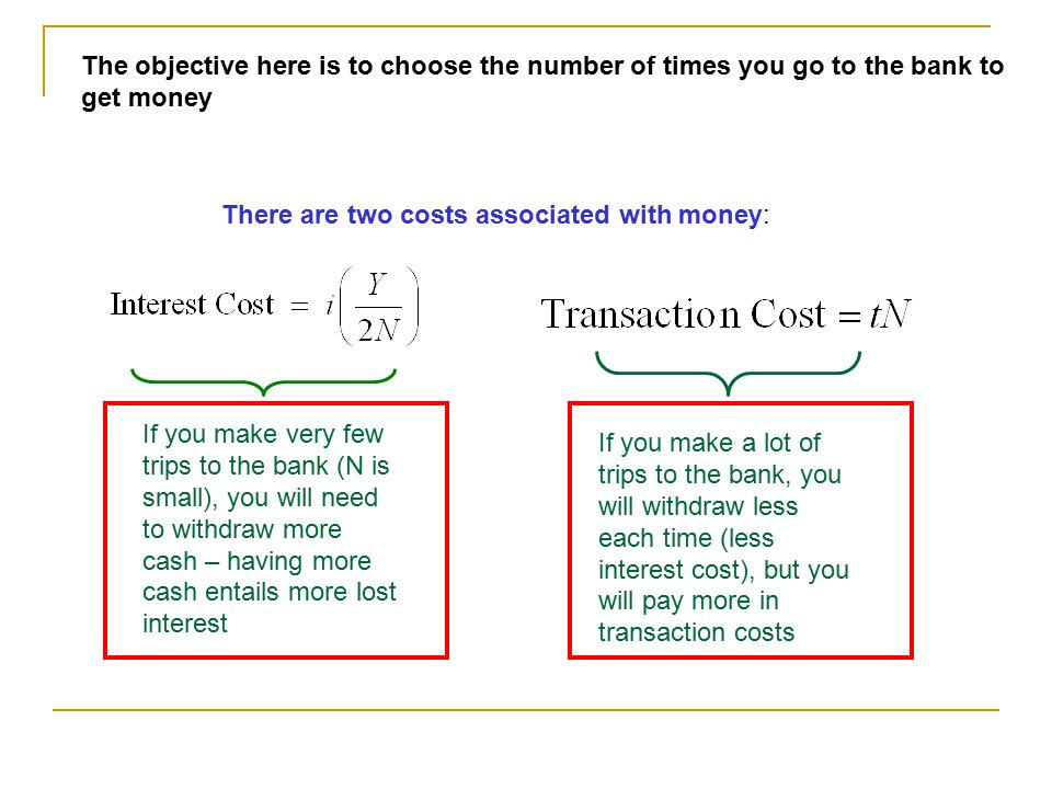 The objective here is to choose the number of times you go to the bank to get money