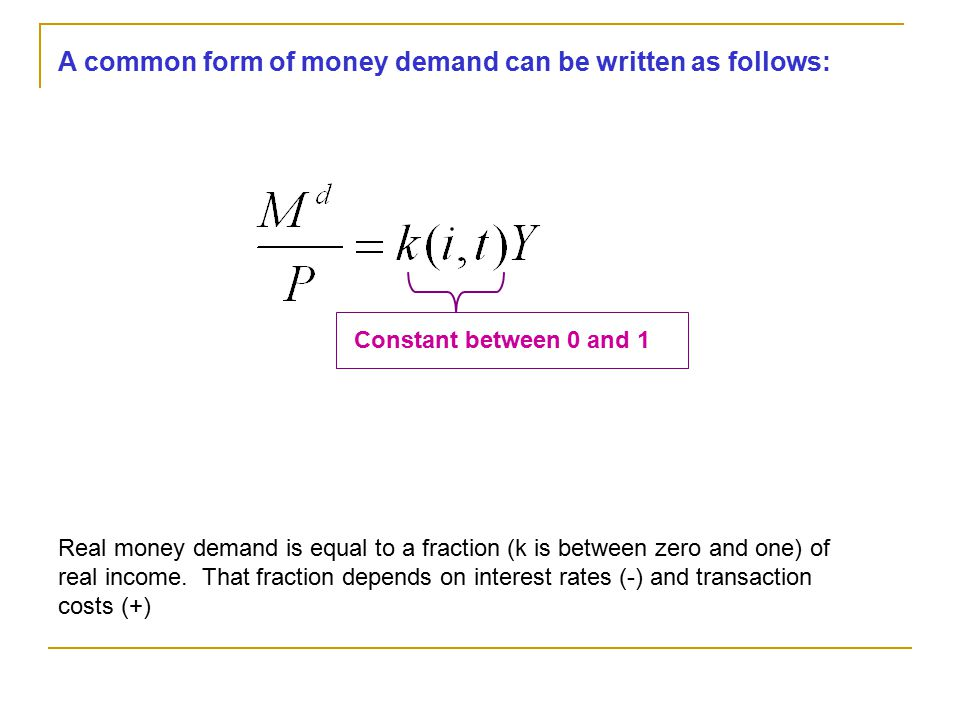 A common form of money demand can be written as follows:
