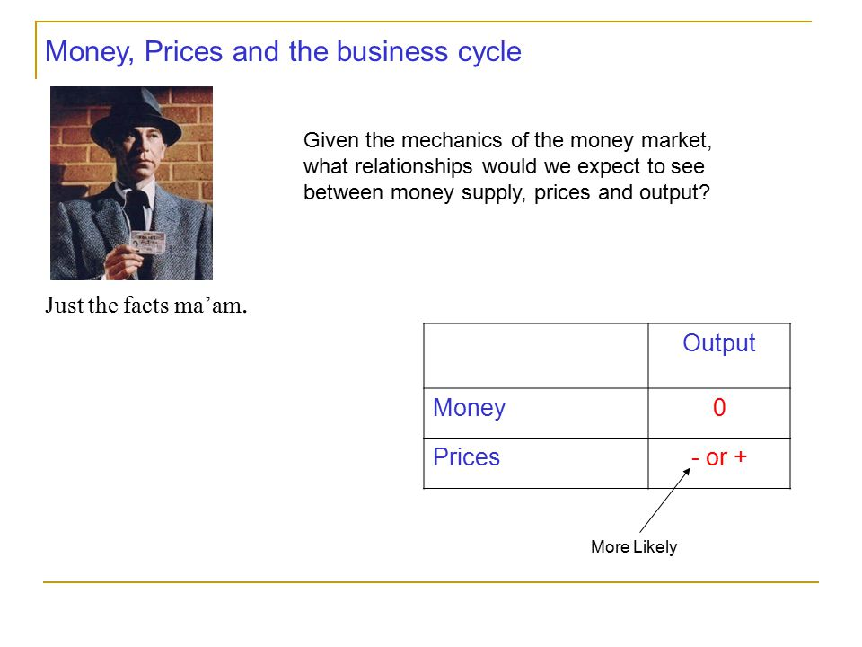 Money, Prices and the business cycle