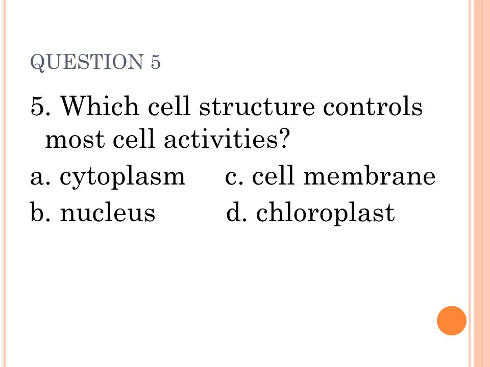 5. Which cell structure controls most cell activities