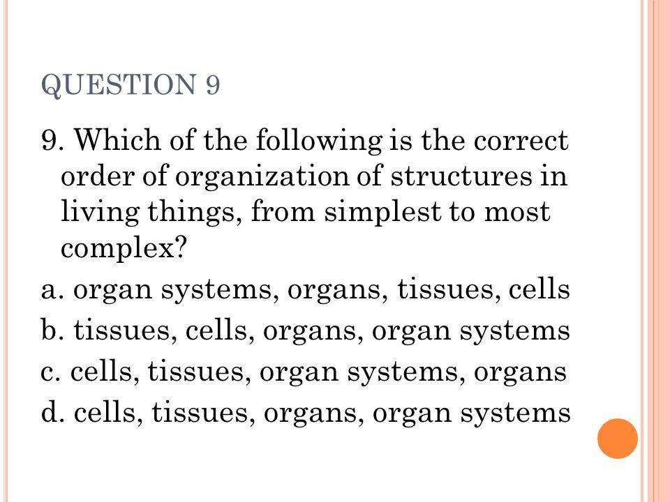 a. organ systems, organs, tissues, cells