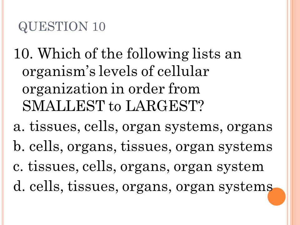 a. tissues, cells, organ systems, organs